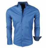 Enrico Polo heren overhemd met geruit design stretch navy blauw