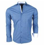Enrico Polo heren overhemd met trendy design stretch navy