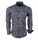 Enrico Polo heren overhemd met trendy design stretch navy blauw