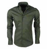 Dom Tower heren overhemd stretch gestreept - groen