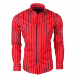 Dom Tower heren overhemd stretch gestreept - rood
