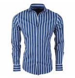Dom Tower heren overhemd stretch gestreept blauw -