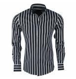 Dom Tower heren overhemd stretch gestreept zwart -