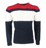 The Wild Stream Wildstream heren kabeltrui ronde hals grof gebreid navy wit rood