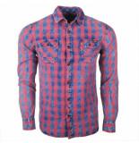 Earthbound heren overhemd met 2 borstzakjes geblokt blauw rood