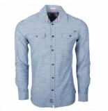 Earthbound heren overhemd met 2 borstzakjes grijs met te stip