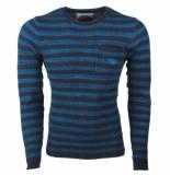 Earthbound heren trui gestreept ronde hals fijn gebreid blauw -
