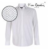 Pierre Cardin heren overhemd stretch geo wit zwart