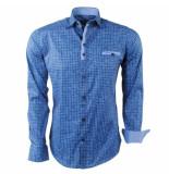 Ferlucci heren overhemd geblokt milano stretch - blauw
