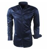 Montazinni heren overhemd design kraag gestreept kreuk en strijkvrij -