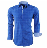 Montazinni heren overhemd geblokt sax blue