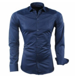 Ferlucci heren overhemd napoli slimfit stretch steel blue blauw