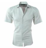 Pradz 2018 Pradz heren korte mouw overhemd met trendy design slim fit mint groen