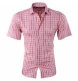 Pradz 2018 Pradz heren korte mouw overhemd geblokt slim fit koraal roze