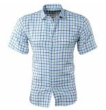 New Republic Pradz heren korte mouw overhemd geblokt slim fit -