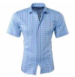 New Republic Pradz heren korte mouw overhemd geblokt slim fit licht