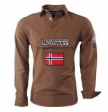 Geographical Norway heren anorak overhemd slim fit zeclass - bruin