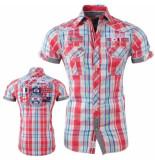 Geographical Norway heren korte mouw overhemd gestreept borstzakken zartar - rood