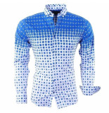 Megaman Megaman heren overhemd met trendy design stretch - wit