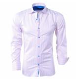 Bravo Jeans heren overhemd gestreept slim fit - wit roze