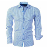 Bravo Jeans heren overhemd gestreept slim fit - wit blauw