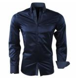Montazinni heren overhemd gestippelde kraag gestreept kreuk en strijkvrij slim fit -