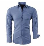 Montazinni heren overhemd geruit slim fit steel blue