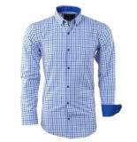 Enrico Polo heren overhemd geblokt borstzak - blauw wit
