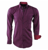Enrico Polo heren overhemd geblokt borstzak - rood