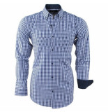 Enrico Polo heren overhemd geblokt borstzak - wit blauw