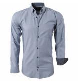 Enrico Polo heren overhemd geblokte kraag borstzak - grijs