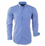 Enrico Polo heren overhemd geblokt borstzak - blauw