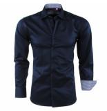 Bravo Jeans heren overhemd geblokte kraag slim fit - blauw