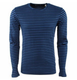 Earthbound heren trui gestreept ronde hals fijn gebreid slim fit -