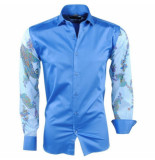 Pradz 2018 heren overhemd slim fit bloemen - blauw