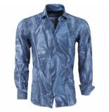 Pradz 2018 heren overhemd all-over print slim fit - blauw
