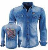 Bravo Jeans heren overhemd slim fit stretch indian skull strass stenen borstzakken denim blauw