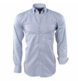Ambassador ongetailleerd heren overhemd trendy motief in de kraag borstzak licht