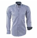 Ambassador ongetailleerd heren overhemd stippel motief in de kraag gestreept borstzak / wit