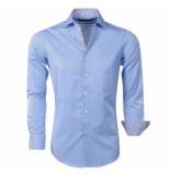 Chamberlain heren overhemd gestreept licht blauw