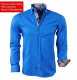 Montazinni trendy heren overhemd met bloemen motief in de kraag - blauw