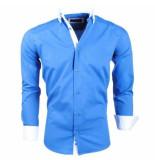 Montazinni slimfit overhemd met witte kraag - blauw