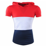 Carisma heren t-shirt capuchon - wit navy rood