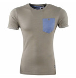 Earthbound heren t-shirt ronde hals borstzak kaki