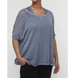 Please Top m45 fine knit denim deluxe blauw