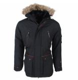 North Valley heren winterjas met faux fur bontkraag teddy gevoerde capuchon model luxo -