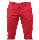 Paname Brothers heren chino slim fit stretch john lengte 34 - rood