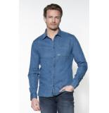 Denham Casual overhemd met lange mouwen blauw