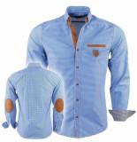 Megaman Megaman heren overhemd met elleboog pads slimfit geblokt blauw -