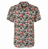No Excess 95420303 all over printed stretch short sleeve shirt 162 cayenne no-excess